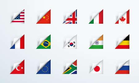 World Flags Peel Back Paper Corner 3d Vector Set