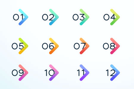 Number Bullet Point Modern Colorful Arrow Set 1 to 12
