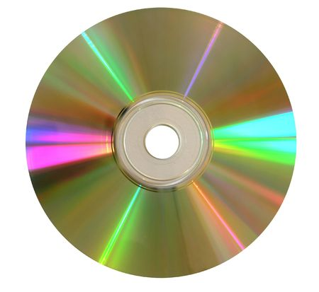 initiation: close-up: a shimmering compact-disk against white background        Stock Photo