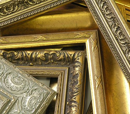 several frames richly decorated with ornament and gold        Stock Photo