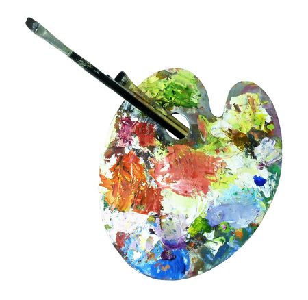 painted palette and brushes against white background, clipping patch including          Stock Photo