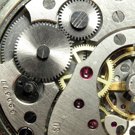 clockwork of the metallic mechanical watch close-up