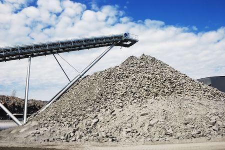 macadam: making of crushed stone at stone quarry