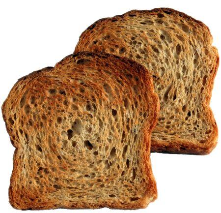goldish: two fresh goldish appetizing toasts against white background