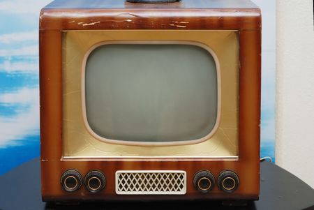televised: old grunge television set on the table Stock Photo