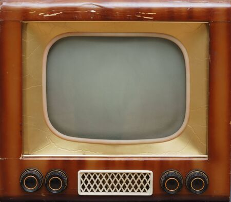 old grunge television set on the table Stock Photo