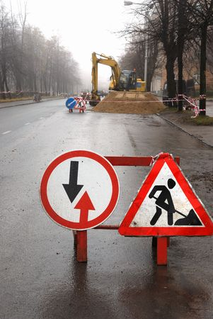 road signs, road works in the sity
