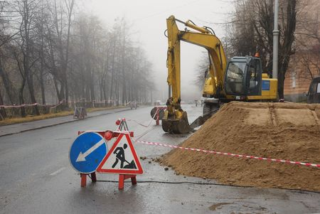 sity: road signs, road works in the sity