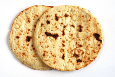 two tasty  pita bread on white horizontal