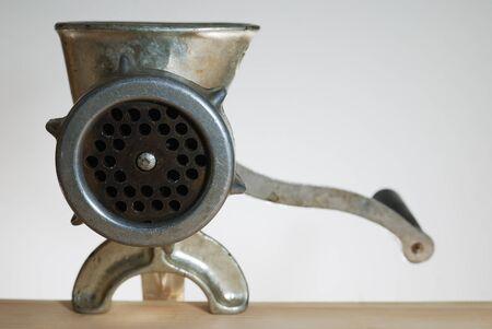 grinder machine: close-up of old vintage  aluminium meat grinder