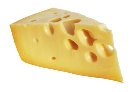 perfect piece of swiss cheese with holes over white Stock Photo