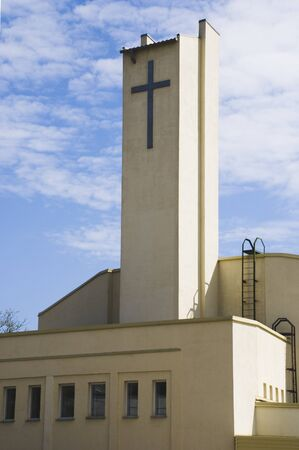 modern Lutheran church in Petrozavodsk, Russia, vertical photo photo