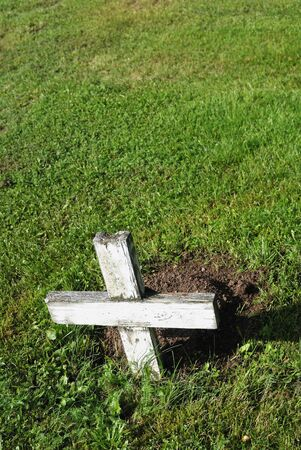 decease: small wooden white cross over green grass