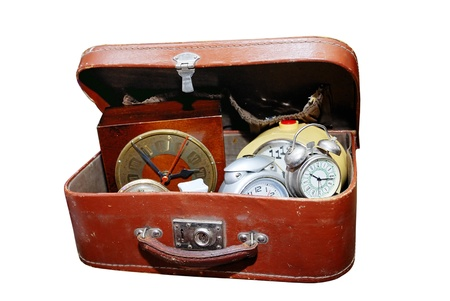 antique watches in the old leather brown suitcase Stock Photo