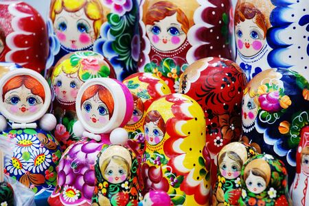 closeup of many traditional Russian matryoshka dolls