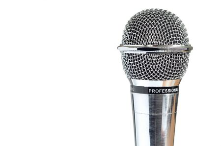 closeup of old microphone isolated over white background photo