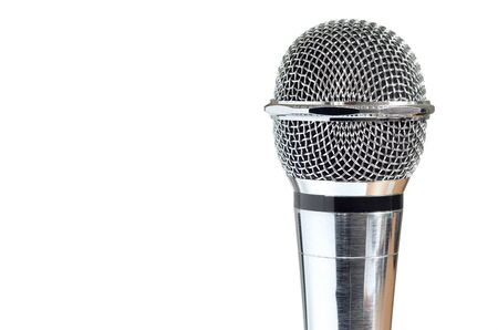 closeup of vintage microphone isolated over white background photo