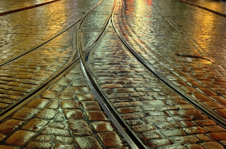 old stone pavement and the tram rails Stock Photo - 16650666