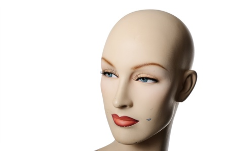 headshot of a female manneqin over white photo