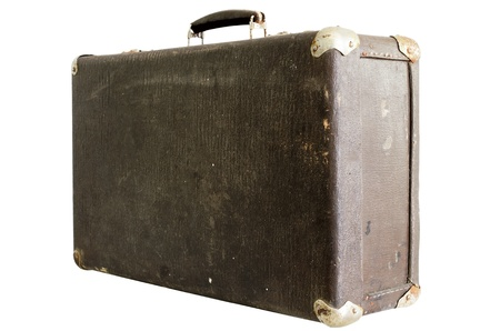 old vintage suitcase on a white background Stock Photo