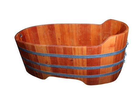 empty wooden bathtube on a white background