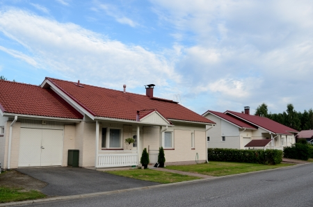 lowrise: several low-rise houses near the forest in Finland Editorial