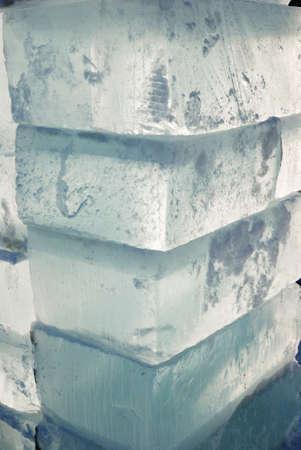 big translucent ice blocs in the sunshine Stock Photo