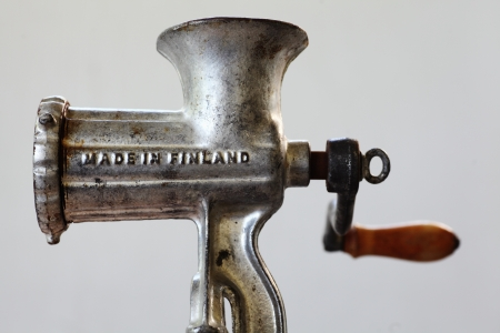 made in finland: old Finnish vintage meat grinder with inscription Made in Finland