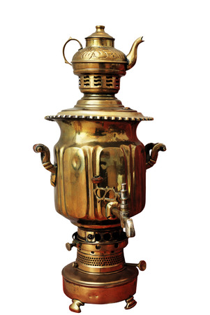 samovar, old traditional russian kettle, over white