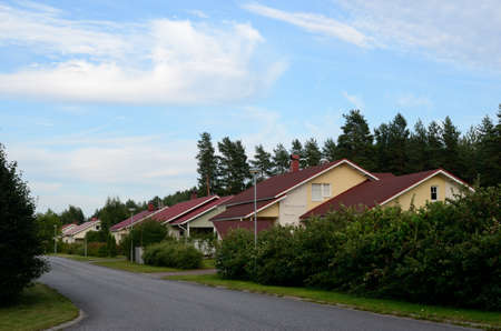 lowrise: several low-rise houses near the forest in Finland Stock Photo
