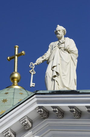 sculpture of Apostle Peter at the Cathedral in Helsinki Stock Photo