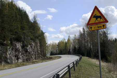 elk sign at the country road in Finland photo