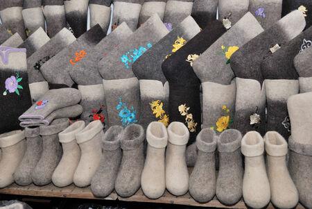 valenki: traditional Russian felt boots winter filled frame Stock Photo