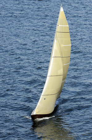 sailing boat in the sea, the top view Stock Photo