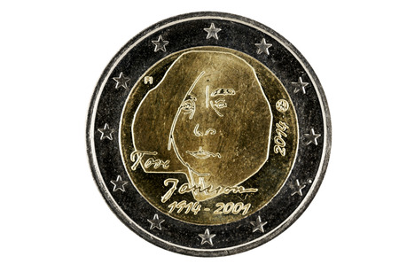 obverse: Obverse 2 Euro coins with the image of the well-known Finnish author Tove Jansson. Coin released in 2014 on the centenary of the writer. Stock Photo