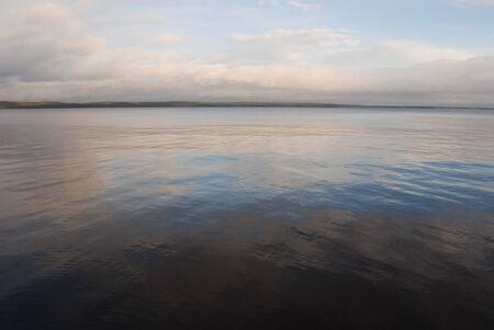onega: expanse of Lake Onega windless morning, Russia