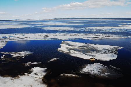 onega: melting ice on Lake Onega in spring