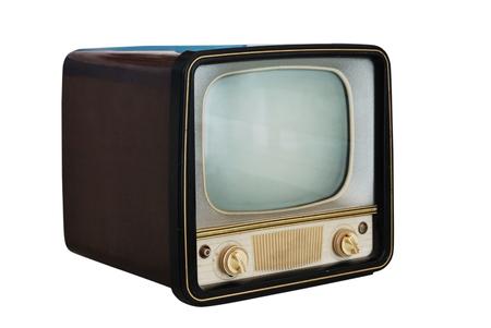 television antigua: viejo televisor de la vendimia en el fondo blanco Foto de archivo