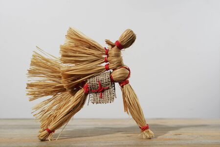 bast: traditional Russian toy, horse of the bast on neutral background Stock Photo