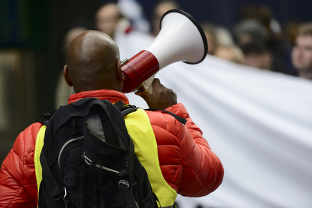 activist with the megaphone during a protest