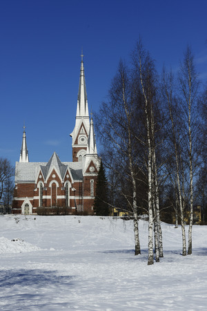 gothic revival: Lutheran Church of neo-Gothic architecture in Joensuu, Finland Stock Photo