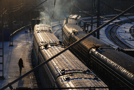 freight train: view of the railway station and wagons in winter Stock Photo