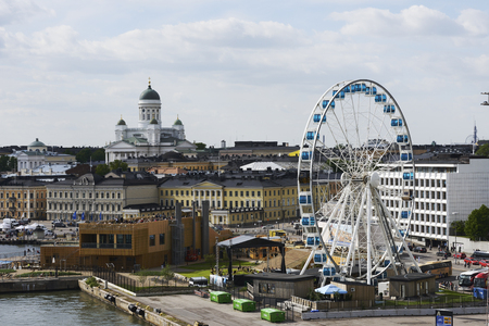 centenary: HELSINKI, FINLAND – JUNE 15, 2017: View of Helsinki from the sea side. In December 2017, Finland celebrates the centennial of independence. Editorial