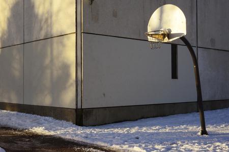 basketball backboard and hoop in the urban area