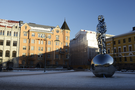 HELSINKI, FINLAND  - FEBRUARY 24, 2018: The National Memorial to the Winter War He Who Brings the Light. The memorial designed by the sculptor Pekka Kauhanen will be unveiled in 2017 and it will be located in Kasarmitori, Helsinki. Editorial