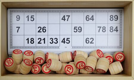 lotto set in wooden box, cards and kegs