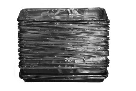 old used aluminum containers on white background