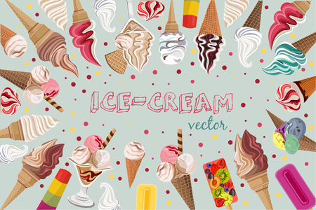 Colorful ice cream vector pattern design