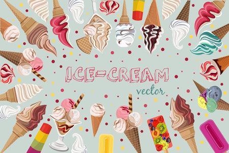 Colorful ice cream vector pattern design