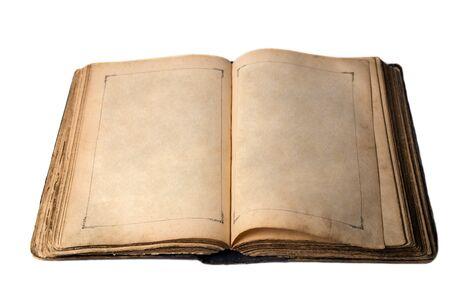 흰색 배경에 고립 열려 오래 된 책